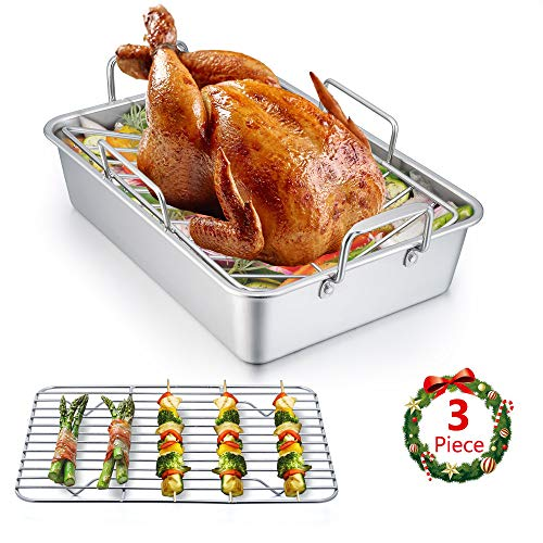 Roasting Pan, E-far 14 Inch Stainless steel Turkey Roaster with Rack, Include Deep Lasagna Pan & V-shaped Rack & Roasting Rack, Non-Toxic & Heavy Duty, Easy Clean & Dishwasher Safe - Rectangular