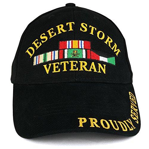 Armycrew Desert Storm War Veteran Ribbon Embroidered Structured Baseball Cap - Black