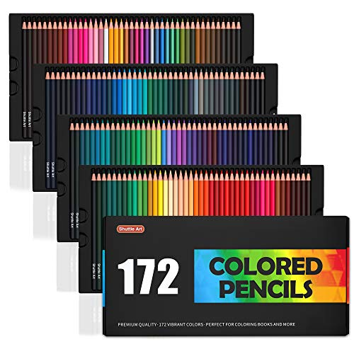 Shuttle Art 172 Colored Pencils Soft Core Color Pencil Set for Adult Coloring Books Artist Drawing Sketching Crafting