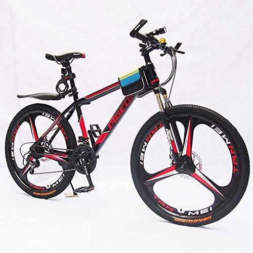 HECHEN Einrad-Mountainbike - Doppelscheibenbremse Stoßdämpfer für Erwachsene 26 Zoll - Aluminiumfelge,red26inch21speed