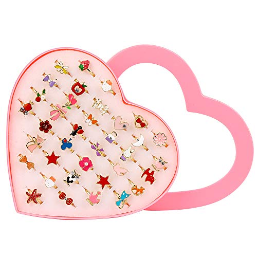 Vegena 36 Pièces Bagues pour Enfants, Bijoux Réglables Bagues Définir et Jouer Habiller des Bagues avec Boîte De Coeur Rose, Super Jolie et Belle Présentation pour Un Cadeau à Une Petite Fille