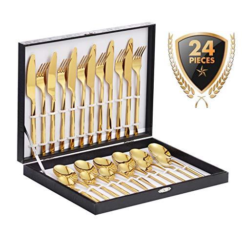 Velaze Besteck, 24-teilige Besteck Set, aus Edelstahl Hochwertige Spiegelpolierte Besteck-Sets, Mehrzweckgebrauch für Haus, Küche, Restaurant Besteck Sets mit Geschenkbox für 6 Personen (Gold)