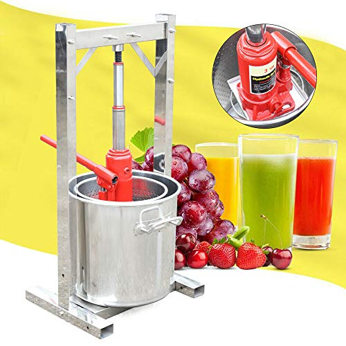 12L Edelstahl Fruit Press mit Hydraulic Jack, Obstpresse Saftpresse Weinpresse, Beerenmühle Fruchtpresse Entsafter