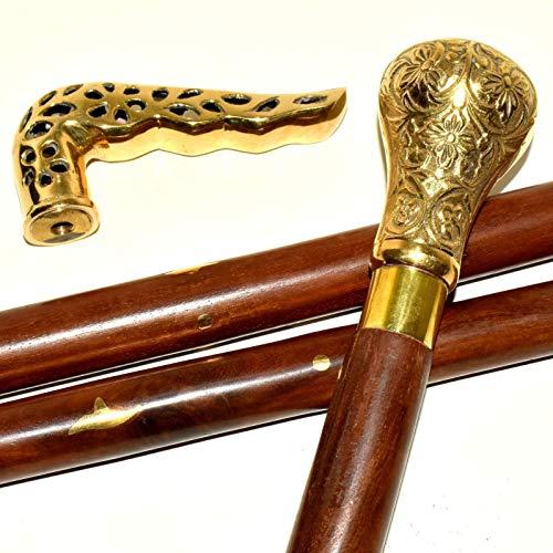 Purplepatch Nautical 2 messing handvat een Victoriaanse ontwerper Cane antieke houten wandelstok