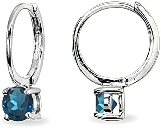 Sterling Silver Genuine, Created or Simulated Gemstone 5mm Solitaire Small Round Huggie Hoop Earrings for Women Teen Girls