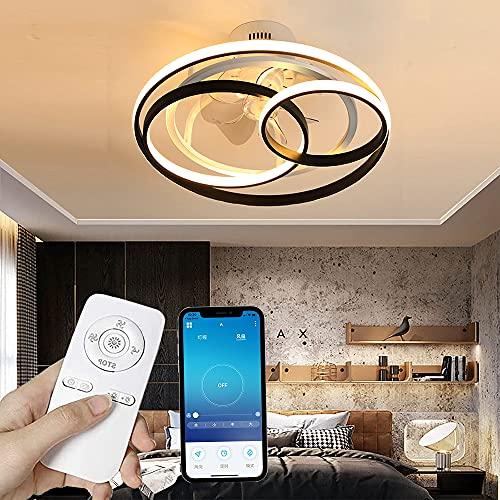 Ventilador De Techo Con Iluminación LED Regulable, Lámpara Con Velocidad De Viento Ajustable Con Control Remoto, Luz,silencioso,candelabro, Para Comedor, Sala De Estar, Dormitorio (60cm)