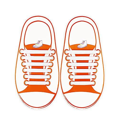 Coolnice Lacci Elastici No Tie Lacci per Scarpe Bambini Pizzo Elastico Impermeabile Pratica in Silicio per Scarpe Sportive Athletic da Corsa Sneaker Boots Bordo e Scarpe Casual-Bianca