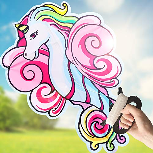 LESONG Unicorn Kite for Kids and Adults for Outdoor Games and Beach Trip,Cute Unicorn Best Kite for Girls,Boys and Beginner,Easy to Fly for Summer Activities,Great Flyer w/Bag (Pink Unicorn Kite)