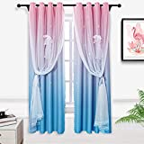 Hughapy Pink and Blue Star Curtains for Kids Bedroom Girls Room Decor Modern 2 Tone Window Drapes Ombre Curtains for Living Room, Room Darkening Window Curtains, 1 Panel (42W x 84L,Pink/Blue)