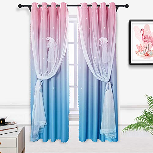 Hughapy Pink and Blue Star Curtains for Kids Bedroom Girls Room Decor Modern 2 Tone Window Drapes Ombre Curtains for Living Room, Room Darkening Window Curtains, 1 Panel (42W x 63L, Pink/Blue)