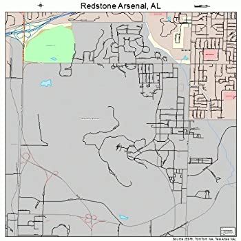 Large Street & Road Map of Redstone Arsenal Alabama AL - Printed poster size wall atlas of your home town