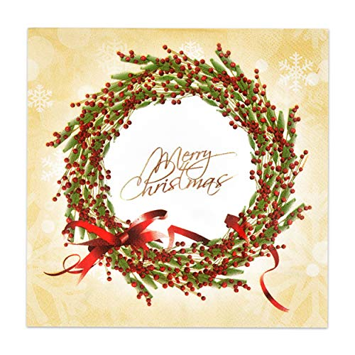100 Christmas Napkins Elegant Luncheon 3 Ply Disposable Paper Holiday Dinner Lunch Napkin Merry Christmas in Gold with Christmas Holly Red Berry Wreath Snowflake Design Party Supplies Tableware Decor