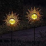 Gadgy Solarlampen für Außen mit Erdspieß Sonne | Set mit 2 Stück | LED Gartenstecker aus Metall | Solarlichter für den Garten | Outdoor Terassendeko