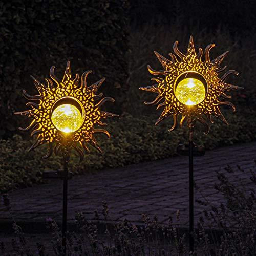 Gadgy Solarlampen für Außen mit Erdspieß Sonne   Set mit 2 Stück   LED Gartenstecker aus Metall   Solarlichter für den Garten   Outdoor Terassendeko