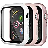 Charlam Hard Case Compatible with Apple Watch 42mm iWatch Series 3/2/1 with Screen Protector, Ultra Thin Guard Bumper Full Coverage Scratch Resistant Protective Cover, Pink White Rose Pink, 3 Pack