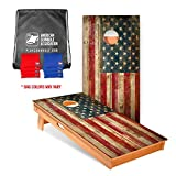 American Cornhole Association Official Cornhole Board and Bags Set with Vintage American Flag Design -Bean Bag Toss Outdoor Game - Made with Heavy Duty Solid Wood - ACA Regulation Size for Tournaments