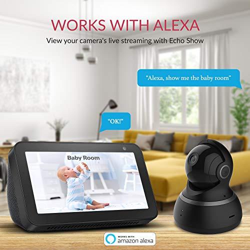 YI Überwachungskamera Dome 1080p Full HD Wlan IP Kamera Indoor Camera mit 345 ° horizontaler und 115 ° vertikaler Drehung, Bewegungserkennung, 2-Wege-Audio, Nachtsicht, Unterstützt Alarm, Schwarz