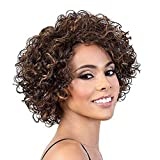 Short Curly Human Hair Wigs For Black Women Human Hair Curly Wigs Non Lace Glueless Wig with Bangs Side Part Wigs (P 4/27)