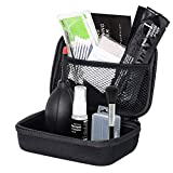 Camera Cleaning Kit, Air Blower Cleaning Brush Sensor Cleaner Swabs Storage Case Tweezers Cleaning Cloths Wet Dry Wipes Lens Paper Detergent Dust Removal