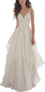 d7673df4701e Ieuan Women's Chiffon A-Line V-Neck Lace Appliques Bodice Simple Beach Wedding  Dress