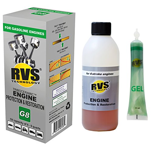 RVS Technology G8 Engine Treatment. for Gasoline Engines with an Oil Capacity up to 9 quarts. Restore and Protect Your Engine, Save Fuel, Increase Power. Safe for All Engines.