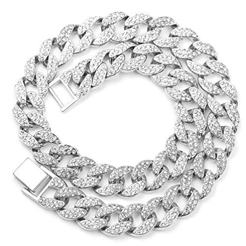 Collar de Diamantes Hip Hop para Hombre Accesorios de Hip Hop Rap Hip-Hop Miami Cuba Collar Moda Hip Hop Joyería Collar (Plata 46Cm)