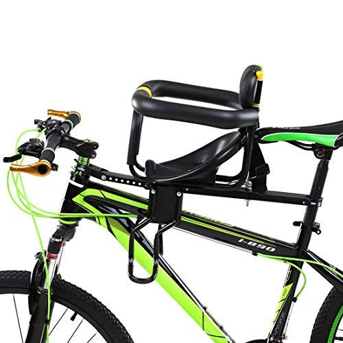 Teakpeak Fahrradsitz Vorne für Kinder, Kindersitz Vorne für Fahrrad mit Handlauf Rückenlehne und Fußplattform