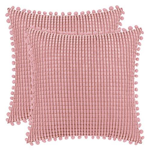 DEZENE 40x40cm Fundas de Almohada Decorativas con Pompones - Bebé Rosa Cuadrado Paquete de 2 Fundas de Cojín de Granos de Maíz Grande a Rayas de Pana para Sofá de Granja