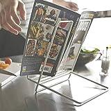 Soporte de libro de cocina, soporte de libro de escritorio de arte de hierro para la cocina y la oficina portátil y plegable libro de recetas stand para la revista de la receta White