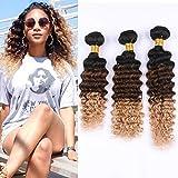 Virgin Brazilian Human Hair #1B/4/27 Ombre Deep Wave Bundles Deals 3Pcs Lot Black Brown to Honey Blonde 3 Tone Ombre Deep Wave Curly Human Hair Weave Extensions Double Wefts (16 18 20)