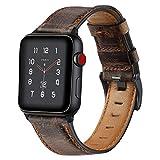 VIKATech Ersatz Armbänder für Apple Watch Armband 44mm 42mm, Wax Series iWatch Leder Uhrenarmband Armbänder für iWatch Series 5/4/3/2/1, Dunkel Kaffee Braun