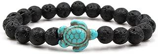 Ocean Sea Turtle Bracelets Save Beach Jewelry for Women Men 8MM Natural Stone Elastic Friendship Beads Bracelet (Lava Rock)