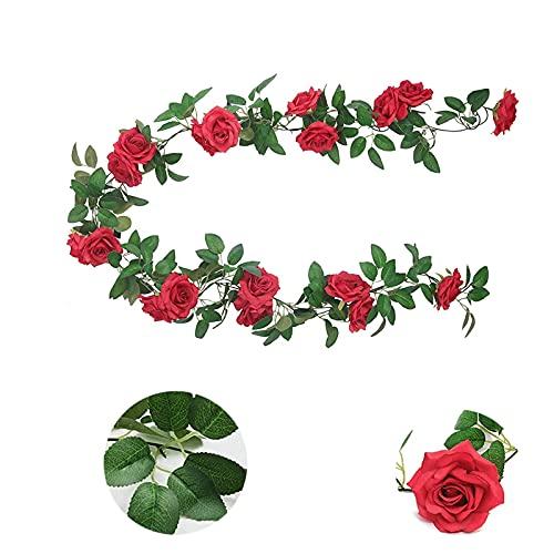 Ghirlanda di Rose Artificiali Fiori di Seta,2.4M Finte Rose Fiori Ghirlanda di Rose Artificiali Appesi Ghirlanda Foglie Sospeso Rose Edera Piante per la Festa Nozze Casa Arco Decorazione 3PCS (rosso)