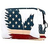 Bolsas de cosméticos para Mujeres, Bolsas de Maquillaje, Bolsa de Aseo espaciosa, Accesorios de Viaje, Regalos, Bandera Americana de los eeuu, águila, Animal
