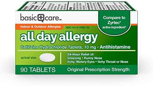 Amazon Basic Care All Day Allergy, Cetirizine Hydrochloride Tablets, 10 mg, Antihistamine, 300 Count