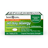 Amazon Basic Care All Day Allergy, Cetirizine Hydrochloride Tablets, 10 mg, Antihistamine, 90 Count