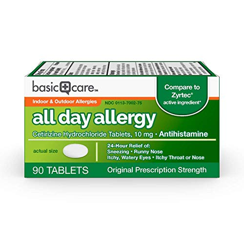 Amazon Basic Care All Day Allergy, Cetirizine Hydrochloride Tablets, 10 mg, Antihistamine, 90 Count