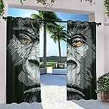 Rideaux de terrasse modernes en gros plan avec motif de gorille et yeux oranges, motif animaux sauvages de la jungle, pour pavillon de campagne, couloir, terrasse, 308 x 183 cm