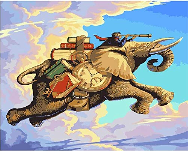 Agolong Elefanten Tiere DIY Malen nach Zahlen Acrylfarbe nach Zahlen Moderne Wandkunst Bild für Home Dekore Mit Rahmen 40x50cm B07NRX36B6 | Gewinnen Sie das Lob der Kunden