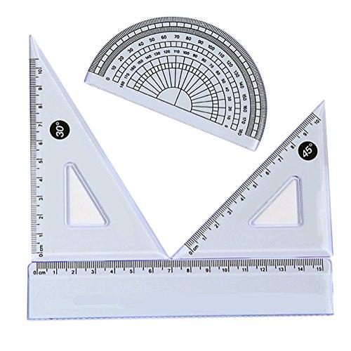 cosanter Geometria Set con righello squadrette e goniometro 3pezzi utensili per disegno per Scuola e Ufficio