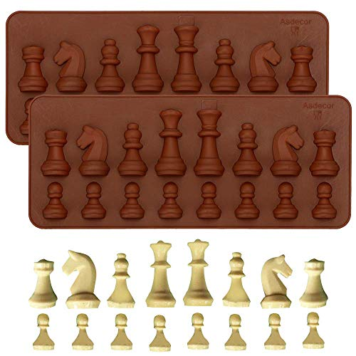 2Pcs Chess Piece Chocolate Candy Molds, International Chess Silicone Mold Epoxy Resin Craft Casting Fondant Paper Clay Wax Melt Mold