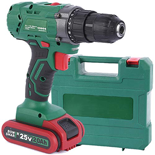 Electric Drill Home Cordless Driver 25V Multifunction Electric Screwdriver Multi-Speed Adjustment Anti-Fall and Waterproof with Carrying Case 30Nm, for DIY, Drilling, Screwing,1 Battery