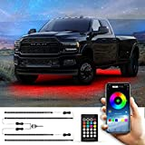 Unplug Exterior Car LED Strip Lights Neon Accent Underglow Lights for Trucks, Cars, SUV RGB LED Strip Light Underglow Kit Under Lights for Car APP & RF Control 16 Million Colors Sync to Music DC 12V