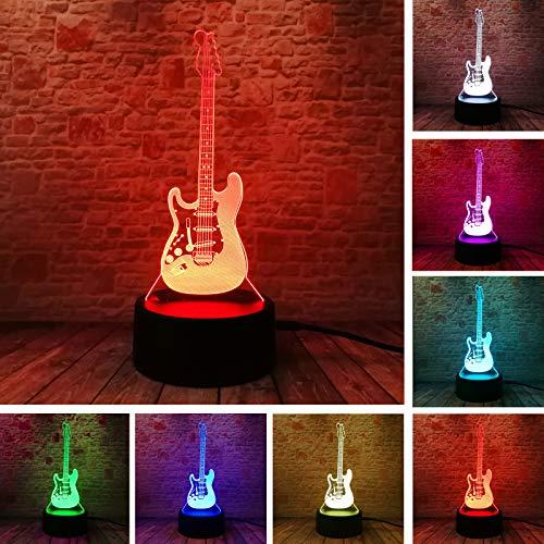 Lamchim Creative Cartoon 3D E-Musik Gitarre Bass Modell Illusion Lampe LED Acryl 7 Farbe USB Wechsel Baby Kind Schlaf Nachtlicht Musik Enthusiast Studenten Weihnachten Geburtstag Spielzeug Geschenke