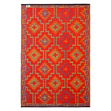 Fab Habitat 3-Feet by 5-Feet Lhasa Indoor/Outdoor Rug, Orange and Violet