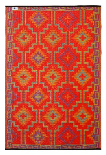 Fab Habitat Reversible Rugs | Indoor or Outdoor Use | Stain Resistant, Easy to Clean Weather Resistant Floor Mats | Lhasa - Orange & Violet (5' x 8')