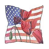 ALARGE - Bufanda cuadrada de seda, diseño abstracto floral, amapola, bandera estadounidense, protector solar, ligero y suave, bufandas, chal envolvente, para mujeres y niñas