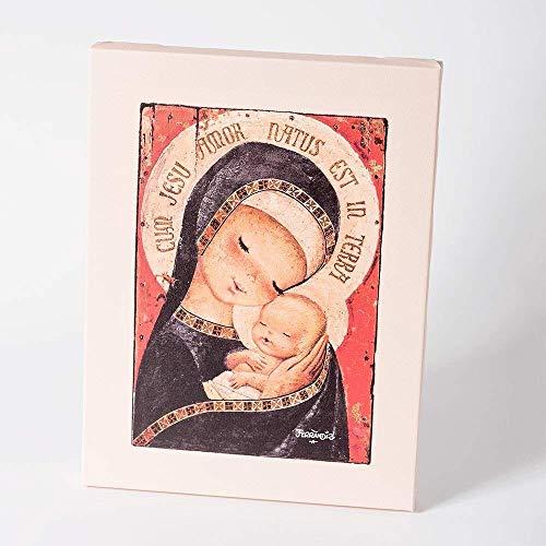 Virgen manto negro 30x40cm. Ilustración de Juan Ferrándiz impresa en lienzo. Serie limitada y numerada. Regalo Comunión y Bautizo