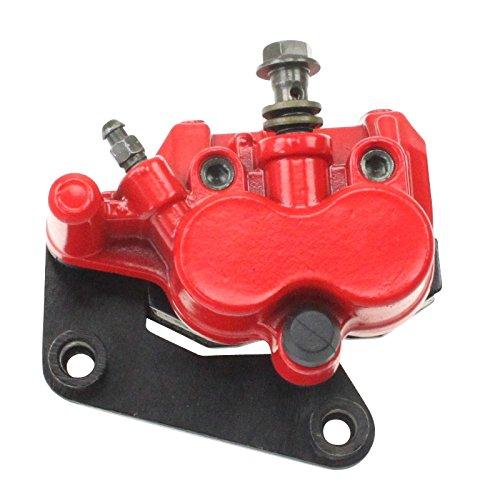 Xfight-Parts Bremszange rot vorne links (Doppelkolben) mit Widerlager mit Halter 2-Takt 50 ccm YY50QT-28 1E40QMB 701976 für Kreidler RMC-E 50 Hiker Amaze Elektroroller