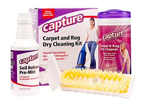 Capture Carpet Total Care Kit 100 - Home Couch and Upholstery, Car Rug, Dogs & Cats Pet Carpet Cleaner Solution - Strength Odor Eliminator, Stains Spot Remover, Non Liquid & No Harsh Chemical